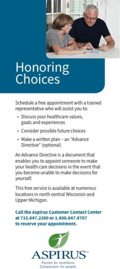 Honoring choices advance care planning aspirus kronenwetter honoring choices advance care planning aspirus kronenwetter clinic 2018 solutioingenieria Image collections