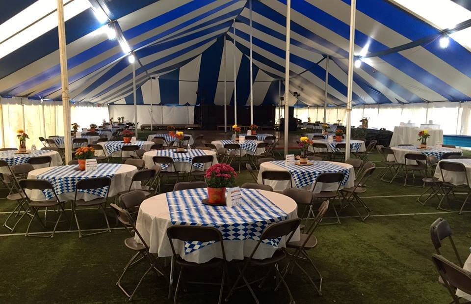 Oktoberfest tent with tables