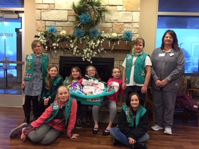 Girl Scout Troop donates baby basket to Birthing Center in Medford