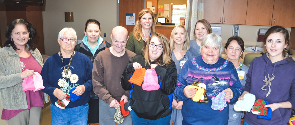 Black River Industries Knitting Club donation to Aspirus Birthing Center-Medford