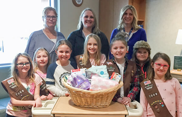 Brownie Troop 7009 donated a gift basket to the Aspirus Birthing Center in Medford.