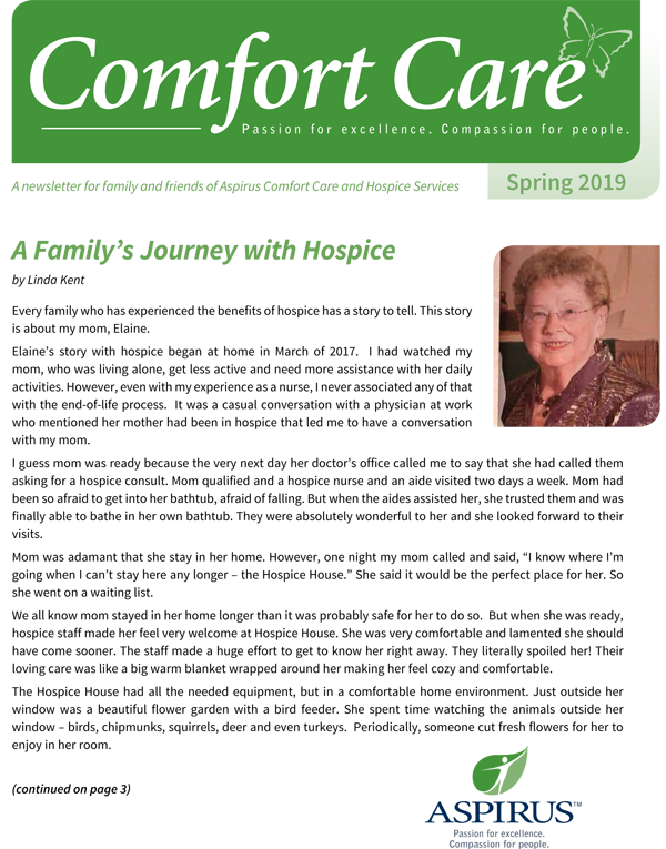 Comfort Care Spring 2019